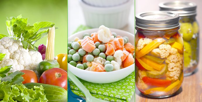 Légumes frais, congelés, ou en boîte ?